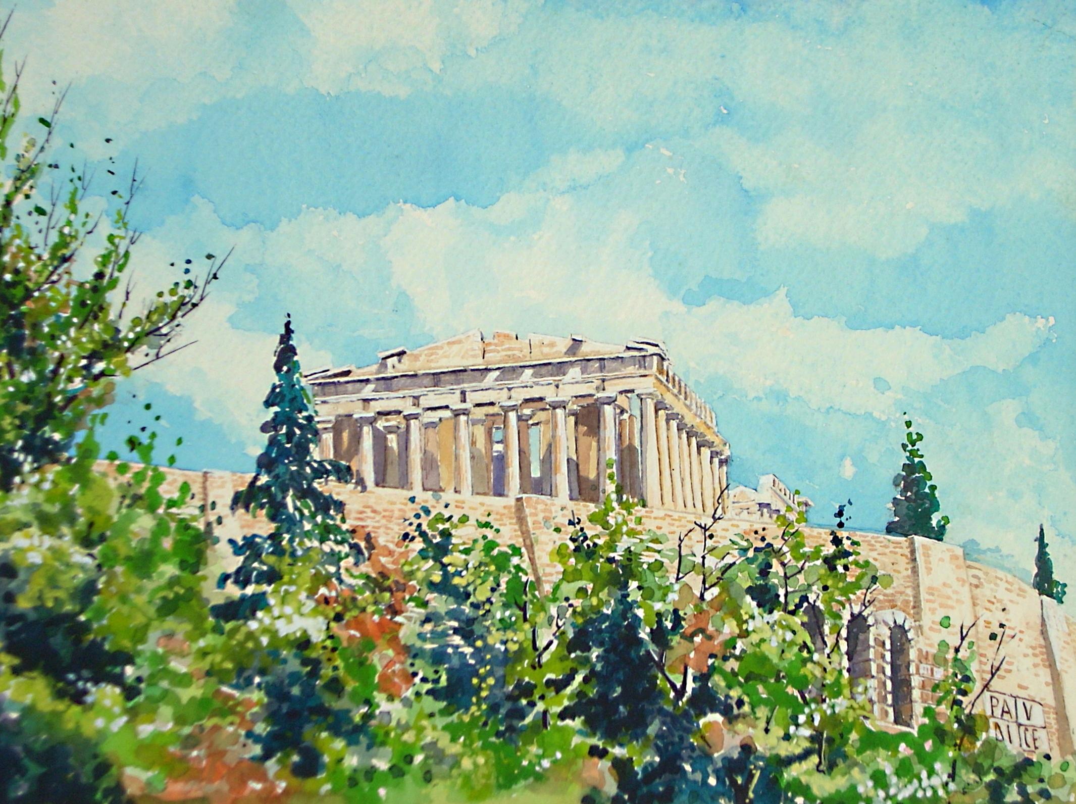Atene - Il Partenone con le mura dell'Acropoli
