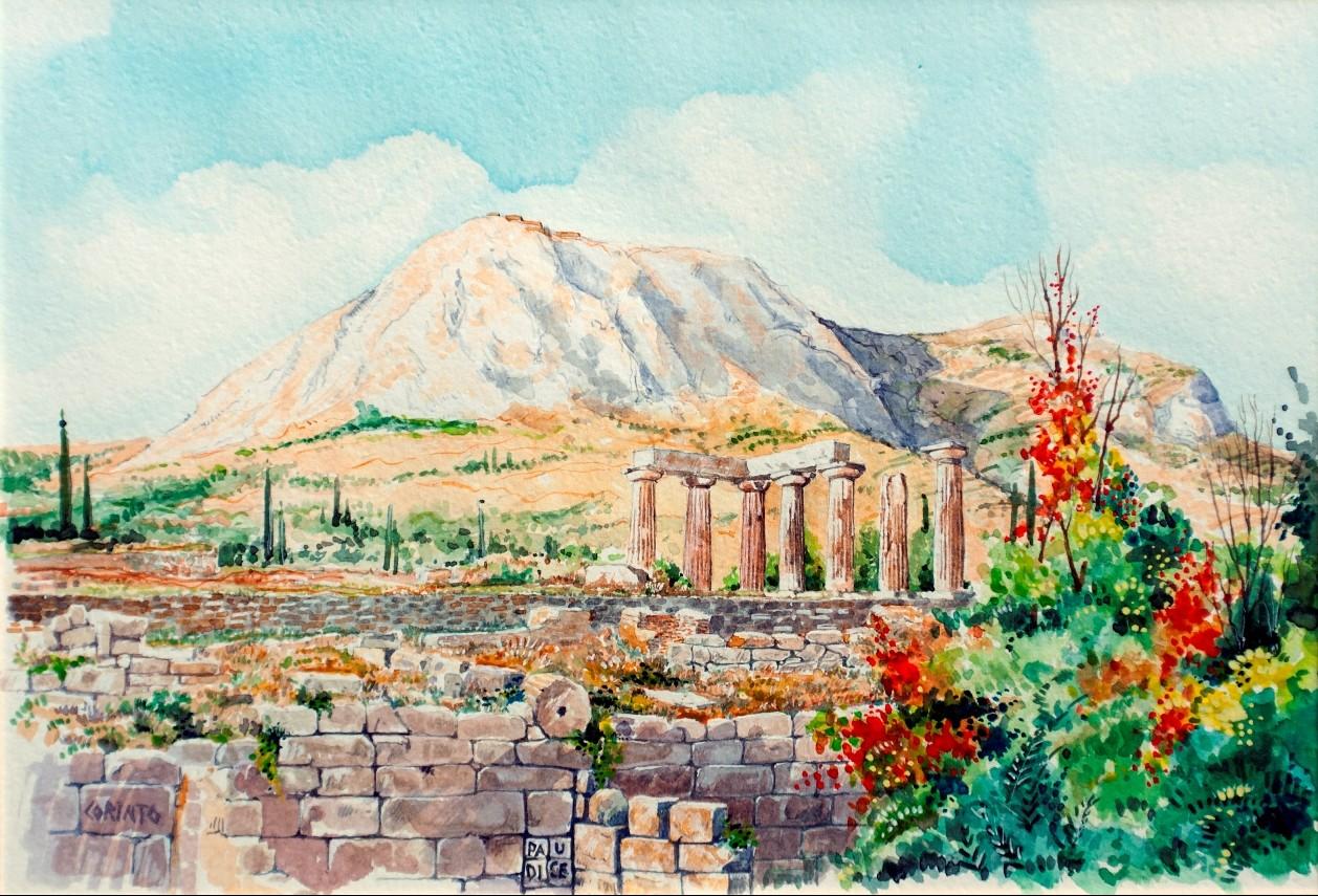 Vincenzo Paudice - Corinto, Tempio di Apollo con Acrocorinto