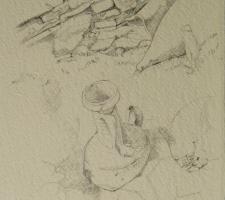 Vincenzo Paudice - Delos, Disegno preparatorio di resti romani