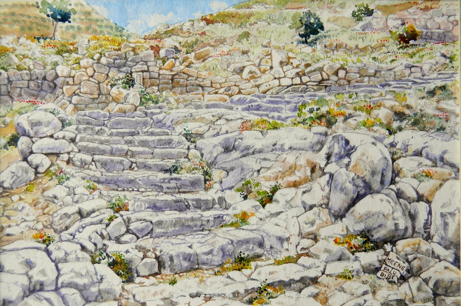 Vincenzo Paudice - Micene, La grande rampa che porta al palazzo di Agamennone