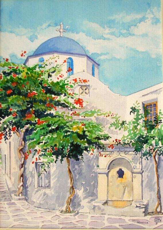 Vincenzo Paudice - Santorini, Chiesa con fontana veneziana