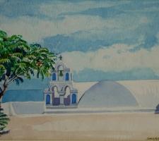Vincenzo Paudice - Santorini, Fira, Slargo con tetto di una chiesa