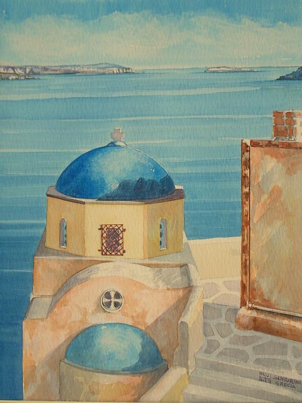 Vincenzo Paudice - Santorini, Oia, Chiesa con vista sul mare