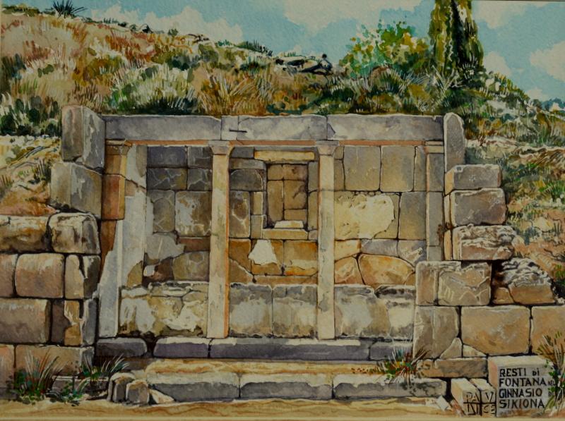 Vincenzo Paudice - Sicione, Fontana nel Ginnasio dell'antica Sikiona