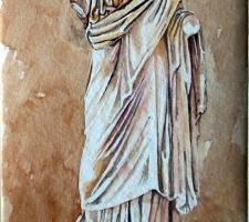 Vincenzo Paudice - Tebe, Resti di statua togata all'ingresso del Museo