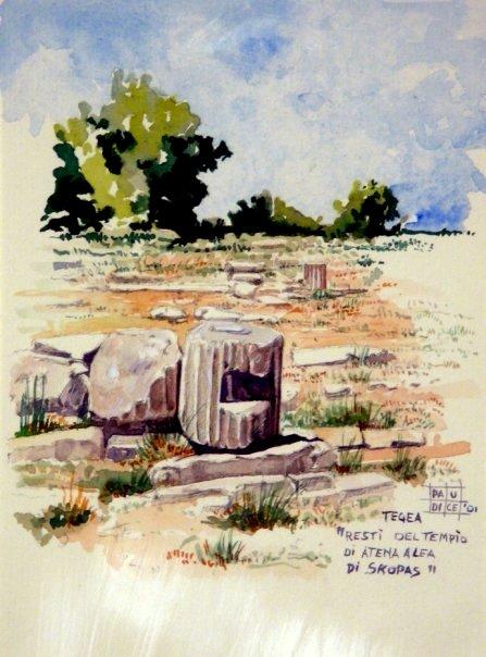 Vincenzo Paudice - Tegea, Resti del tempio di Atena Alea