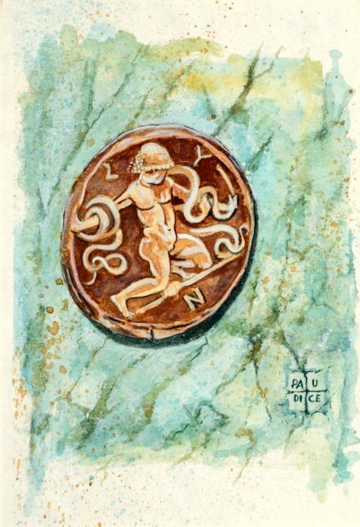 Vincenzo Paudice - Moneta emessa da Byzantium con Heracles che strozza i serpenti
