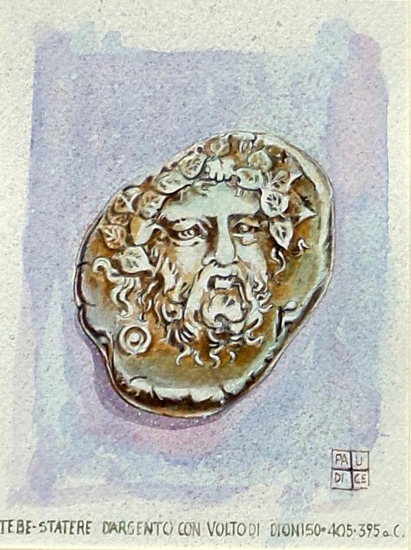 Vincenzo Paudice - Statere d'argento con volto di Dioniso, coniato a Tebetra tra il 405-395 a.C.