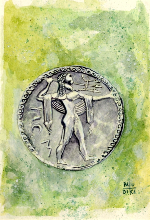 Vincenzo Paudice - Statere coniato a Paestum nel VI sec. a.C. con effige di Poseidone
