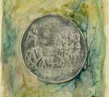 Vincenzo Paudice - Moneta d'argento emessa nel III sec. a.C. dalla città di Siracusa raffigurante Nike su quadriga
