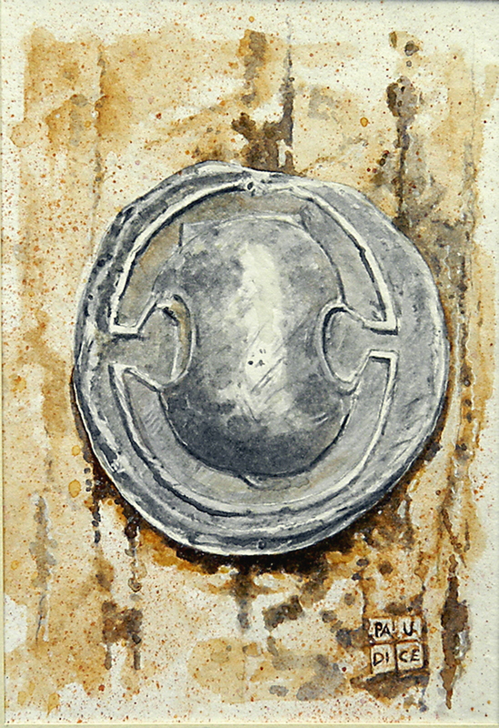 Vincenzo Paudice - Moneta tebana in argento con scudo beota