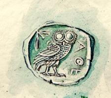 Vincenzo Paudice - Tetradracma d'argento coniata ad Atene (detta Lavrio, luogo dove erano ubicate le miniere d'argento)