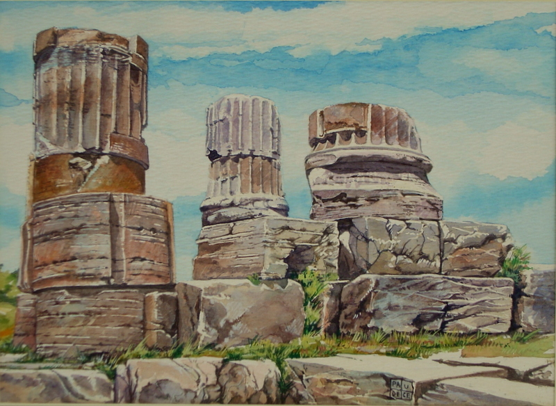 Vincenzo Paudice - Paestum, Resti di colonne provenienti dal Tempio della pace