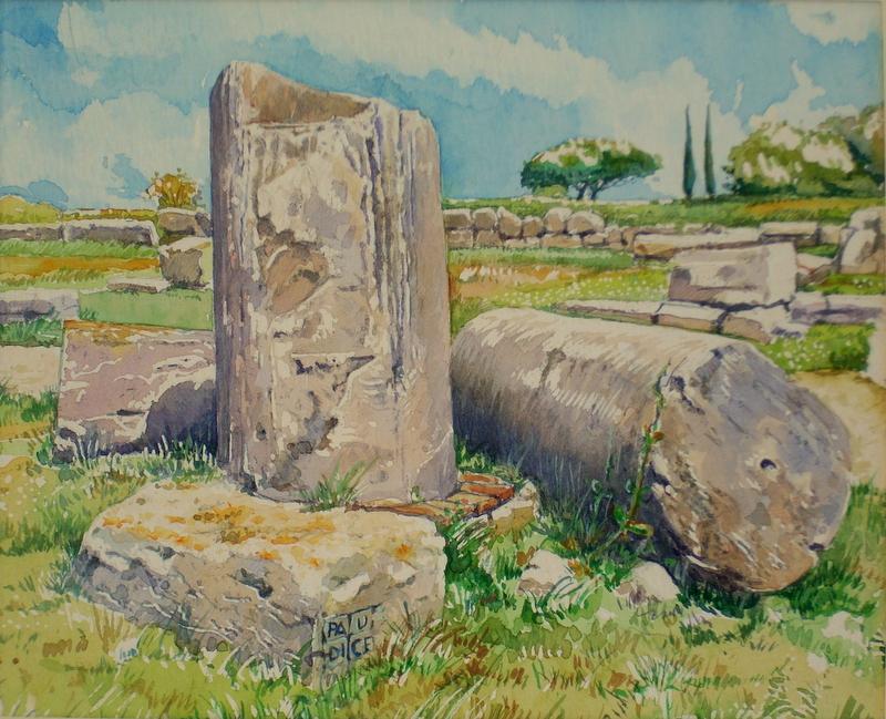 Vincenzo Paudice - Paestum, Resti di colonne romane