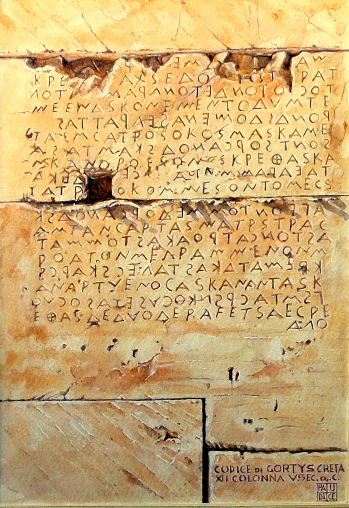 Vincenzo Paudice - Gortyna, Codice di Gortys