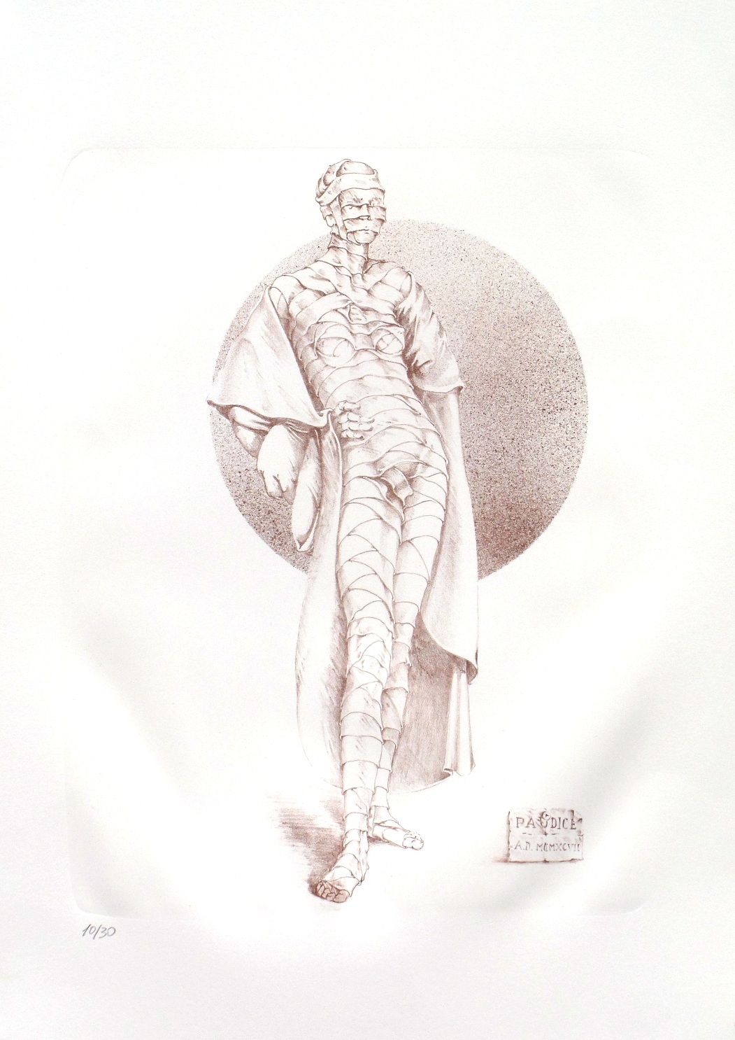 Vincenzo Paudice - Signora con grande mantello ad una festa di beneficenza