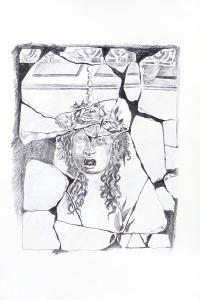 Vincenzo Paudice - Pompei, resti di affresco con immagine di Gorgone