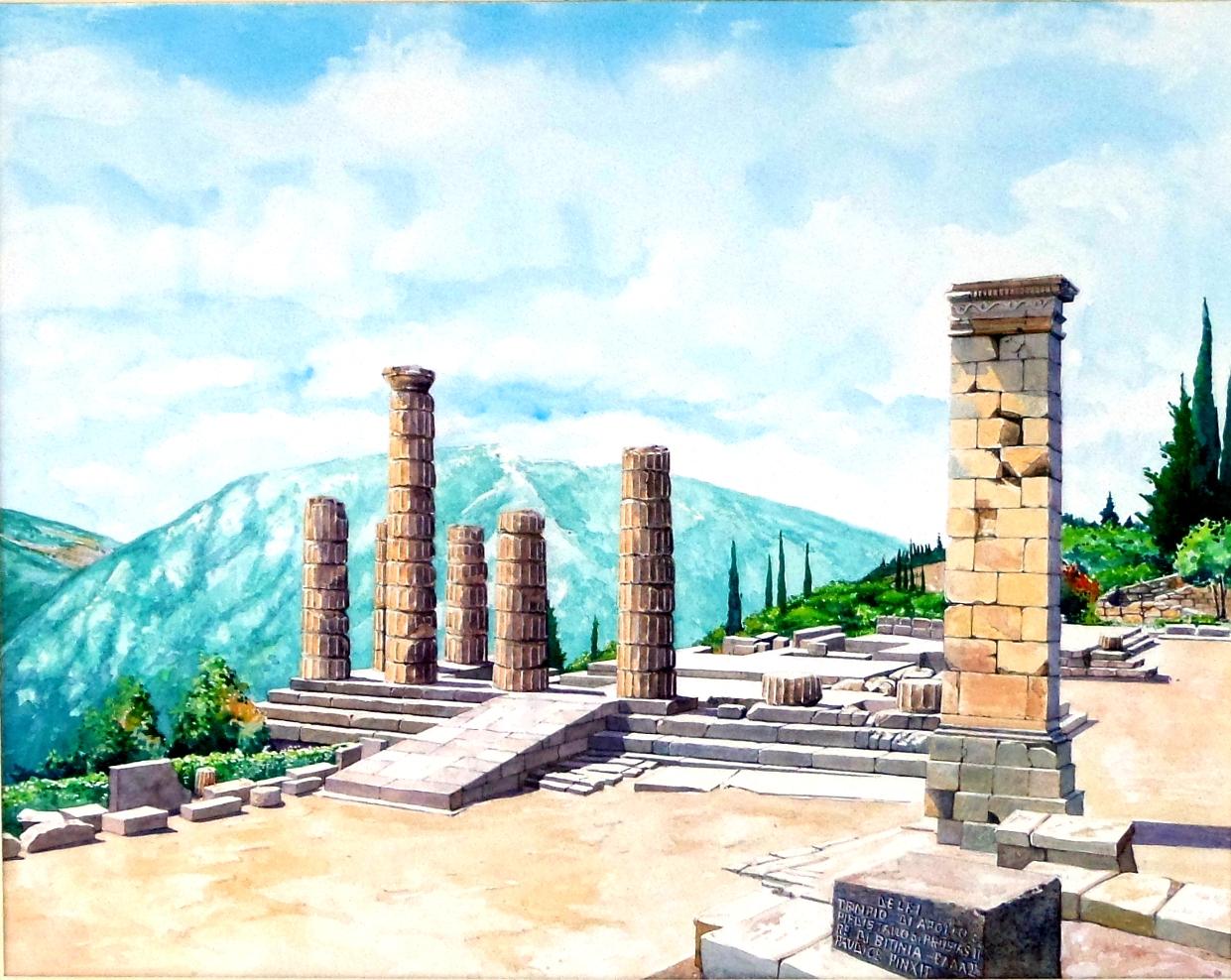 Vincenzo Paudice - Delfi, Tempio di Apollo e Piedistallo di Prusias II